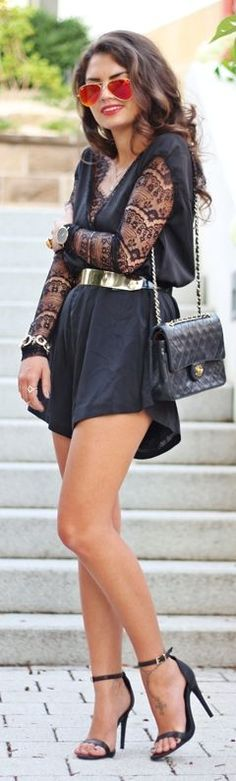 Missguided Black Contrast Lace Sleeve Loose Playsuit by Fashion Hippie Loves