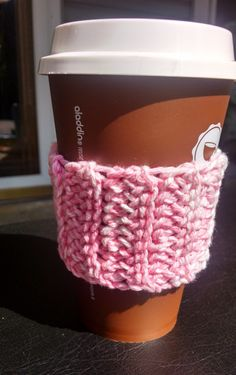 Pink and White Crochet Coffee Cozy/Sleeve by VioletOrchidBoutique on Etsy