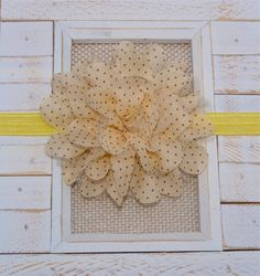 """Quantity: (1)    Beautiful Pale Yellow/Beige Polka Dot Ruffle Chiffon Lace Flower Headband secured to a yellow stretch headband.    Headband Width: approximately 5/8""""  Flower Size: approximately 4""""    **Please use the drop down box to pick your headband size**    *****************  In order to provide the best customer service possible, I ask that you please read my policy page. Here you will find information on our processing time, rush orders, domestic/international shipping, package…"""