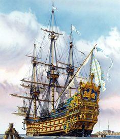 Statek żaglowy Soleil Royal do sklejania w skali Poder Naval, Old Sailing Ships, Pirate Art, Ship Of The Line, Ship Drawing, Ship Paintings, Model Building Kits, Wooden Ship, Nautical Art