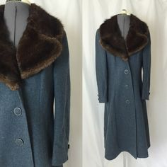 Medium  1960s FUR COLLAR cobalt wool coat  by PalePinkVintage