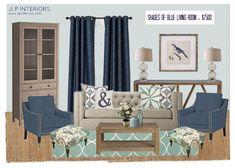 Home with Baxter: Mood Board Monday - Shades of Blue Living Room   Target, Crate, Layla Grace, Lamps Plus, Zinc Door, West Elm, Plum 28, Home Decorators, Ballard Designs, Ikea