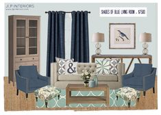 Mood Board Monday - Shades of Blue Living Room