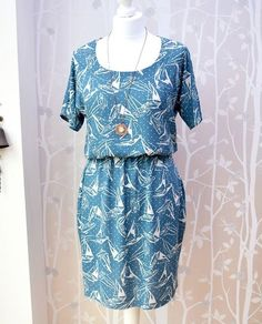 Alise's boat print Bettine dress -sewing pattern from Tilly and the Buttons