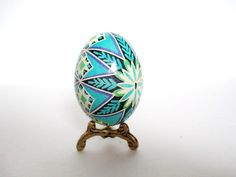 black and Blue Pysanka, Ukrainian Easter Egg batik decorated egg. $22.95, via Etsy.