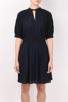 Vanessa Bruno's Marine cotton Frivole dress is lifted with black embroidery and beautiful bead embellishment – cleverly positioned to flatter your silhouette. Measurements: Length 37in / 94cm. Hand wash or dry clean. Made in India.