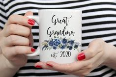 2020 pregnancy announcement, great grandma to be coffee mug. Grandma Mug, Grandmother Gifts, Mom And Grandma, Handmade Design, Mug Designs, White Ceramics, Mother Day Gifts, Announcement, Baby Shower Gifts