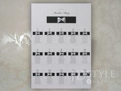 Plan stołów weselnych AL-07-PS w białym kolorze wraz z wklejonymi wstążkami w 48 kolorach do wyboru!