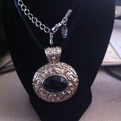 Hematite pendant in a silk chain Stainless steel 18' beautiful crafted best from chantal miller Jewelry Necklaces