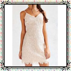 Cooperative Lace Party Dress Great Gatsby goes modern in this shimmery lace from vintage-inspired brand Cooperative from Urban Outfitters. Fitted silhouette cut short with thin straps and v-neck featuring metallic daisy lace. Fully lined with invisible side zipper closure. Polyester. Hand wash. Chest measures 36 inches. Length 30.5 inches. Size 6. NWT. Light pink. Cooperative Dresses Mini
