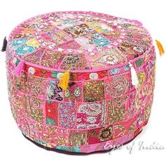 Pink Patchwork Round Pouf Pouffe Bohemian Boho Ottoman Cover with... ❤ liked on Polyvore featuring home, furniture, ottomans, patchwork ottoman, patchwork furniture, pink furniture and pink ottoman