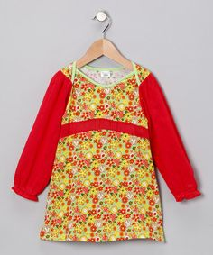 Take a look at this Green & Red Floral Sarah Dress - Infant, Toddler & Girls by Pineapple Kiss on #zulily today!  #fall