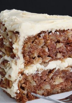 Apple Cake With Maple Buttercream And Pecan Trim (1) From: My Honey's Place, please visit Apple Cake Recipes, Apple Desserts, Just Desserts, Baking Recipes, Delicious Desserts, Dessert Recipes, Apple Cakes, Apple Walnut Cake Recipe, Apple Kuchen Recipe