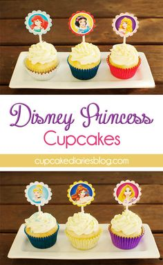 Disney Princess Cupcakes with FREE Cupcake Toppers Printable - Perfect for a Disney Princess birthday party! | cupcakediariesblo...