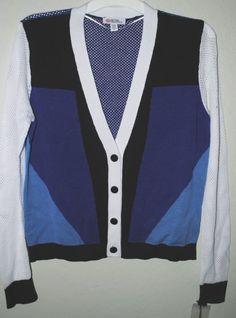 Peter Pilotto Blue & White Colorblock Cardigan