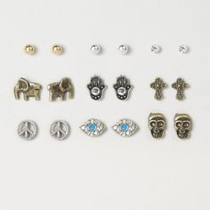 Claires Peaceful Vibes Stud Earrings Set of 9 - My Collection Earrings