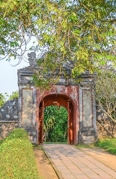 """""""Brick gate at the Thien Mu Pagoda"""" by TravelPod blogger momentsintime from the entry """"Feeling quite small next to the Thien Mu Pagoda!"""" on Friday, February 28, 2014 in Hue, Vietnam"""