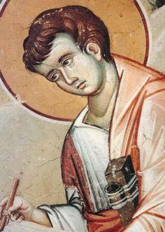 Ο άγιος Πρόχορος από το Πρωτάτο Orthodox Christianity, Medieval Art, Sacred Art, Illuminated Manuscript, Byzantine, Saints, Religion, Wall Paintings, Mosaics