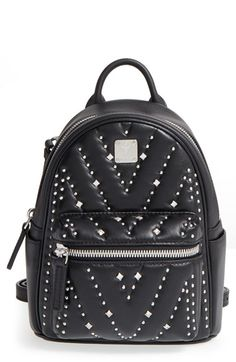 MCM 'X Mini Diamond Disco' Leather Backpack. #mcm #bags #crystal #backpacks #suede #lining