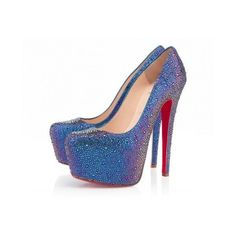 Christian Louboutin Daffodile Strass blue - Women Shoes - Christian... ❤ liked on Polyvore featuring shoes, christian louboutin shoes, christian louboutin, blue color shoes and blue shoes