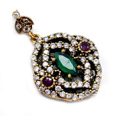 Silvesto India Emerald,Ruby And Topaz (Lab) 925 Sterling Silver With Bronze Turkish Pendant Jewelry PG-7202  https://www.amazon.com/dp/B01EUOZ8V2