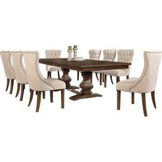 Darby Home Co Richmond 9 Piece Dining Set Wood Table Bases, Solid Wood Table Tops, Solid Wood Dining Set, 7 Piece Dining Set, Dining Room Sets, Kitchen Dining Sets, Dining Tables, Beautiful Dining Rooms, Living Spaces