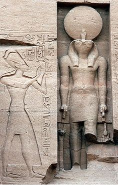 Abu Simbel, Ramesses the great and the god Horus Ancient Tomb, Ancient Egyptian Art, Ancient Aliens, Ancient History, Old Egypt, Egypt Art, Ancient Discoveries, Kemet Egypt, Historical Artifacts