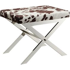 Kingsbury Home Versailles Contemporary Cow Hide Fabric X-Base Vanity Stool, Chrome Finish ❤ Topline Furniture Warehouse Corp. Cowhide Fabric, How To Clean Chrome, Leather Stool, Vanity Stool, Cow Hide, Chrome Finish, Beddinge, Living Room Furniture, Santos