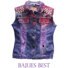 Super Cool Raw Dyed Studded Vest ($52) ❤ liked on Polyvore