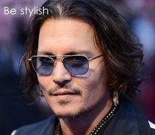 Retro vintage aviator sunglasses frame Johnny Depp metal frames blue glass lens