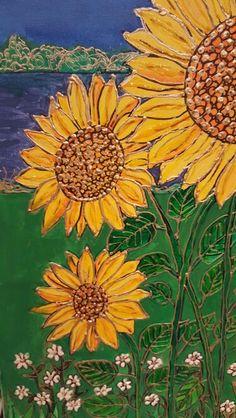 Sunflowers mixed media