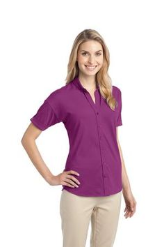 Port Authority® - Ladies Stretch Pique Button-Front Shirt. A fashionable drop shoulder, open Y-neck and roll sleeves with button tabs give this breathable style a modern look. Our finishing wash enhances the softness.. 5.5-ounce, 55/40/5 cotton/poly/spandex. Gently contoured silhouette. Self-fabric button-down collar. Full button placket with dyed-to-match buttons. Shirttail hem Ladies Sizes: XS-4XL $25.98 range