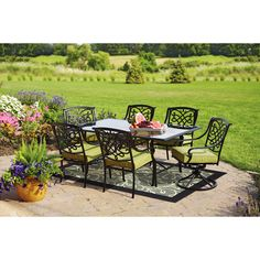 Better Homes And Gardens Hillcrest 7 Piece Outdoor Dining Set, Seats 6:  Patio