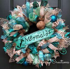 Mermaid Wreath, Beach Wreath, Deco Mesh Wreath, Summer Wreath, Beach Decor, Wreath, Wreath for front door, Mermaid Decor, Burlap Wreath by ChanceyCreations on Etsy