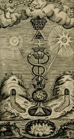 """Alchemy: From """"The Hermetical Triumph: Or, The Victorious Philosophical Stone, a… Occult Symbols, Occult Art, Old Symbols, Masonic Symbols, Magick, Witchcraft, Alchemy Art, Esoteric Art, Arte Obscura"""