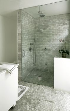 floor, shower heads, modern country, master bathrooms, subway tiles, mosaic tiles, hexagon, tile showers, marbl