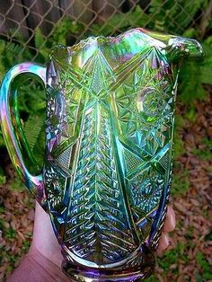 BEAUTIFUL EMERALD GREEN......CARNIVAL GLASS WATER PITCHER.