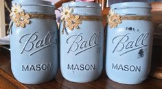 A personal favorite from my Etsy shop https://www.etsy.com/listing/187086046/painted-mason-jars-set-of-three-blue