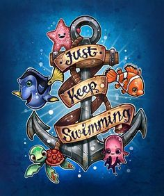 Finding Nemo Diamond Painting Kit, Just Keep Swimming Anchor - Full Square/Round Drill DIY Diamond Art Walt Disney, Disney Art, Disney Movies, Disney Pixar, Animation, Image Deco, Disney Sleeve, Disney Kunst, Keep Swimming