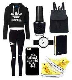 """""""black&Pikachu!!!"""" by theteress ❤ liked on Polyvore featuring adidas Originals, Miss Selfridge, Olympia Le-Tan and OPI"""