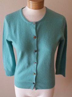 Valerie Stevens Cashmere Cardigan Sweater Blue Rhinestone Buttons Womens Sz M #ValerieStevens #Cardigan