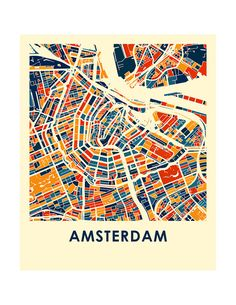 Amsterdam Map Print Full Color Map Poster by iLikeMaps on Etsy
