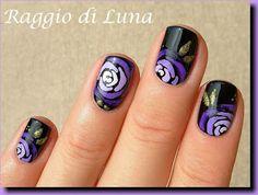 Purple roses on black