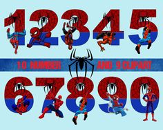 Spiderman number and Clipart , Disney,Princess ,Digital Graphic ,Image… Spiderman Cake Topper, Superhero Cupcake Toppers, Spiderman Spiderman, Spiderman Theme Party, Superhero Party Decorations, Spider Men, Birthday Clipart, Twin Birthday, 4th Birthday Parties