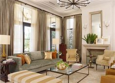 Sumptuous Transitional Living Room.