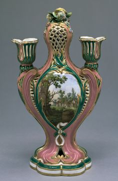 Vase Painted by Charles-Nicolas Dodin (French, Sèvres, France  1759 Soft paste porcelain, pink and green ground colors, colored enamel decoration and gilding