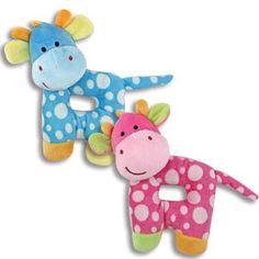 "PLUSH GIRAFFE RATTLES 7"" Blue/Toys/Crib Toys/Baby Shower Kelli's"