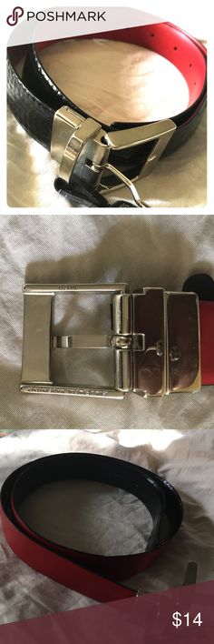 Reversible Red/Black EuroMetal Leather belt small 30 waist reversuble black payent reptile and red leather belt-Italy made EuroMetal brand Ralph Lauren Accessories Belts