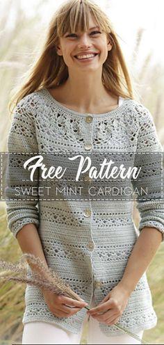 Sweet Mint Cardigan – Pattern Free Source by easycrochetpatterns pattern Crochet Tunic Pattern, Crochet Coat, Crochet Clothes, Easy Crochet, Crochet Shirt, Crochet Sweaters, Crochet Gratis, Free Crochet, Mint Cardigan
