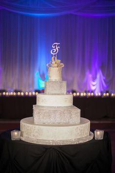 Glamour s 5 Tier White & Glitzy Wedding Cake.